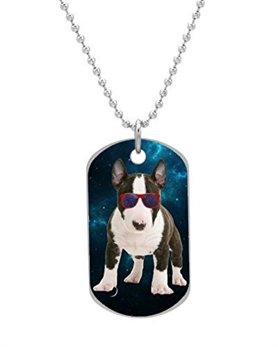 Space Bull Terrier Puppy Dog Tag Custom Photo Dimensions: 1.2 x 2 X 0.1 inches with 30″ Aluminum Bead Chain