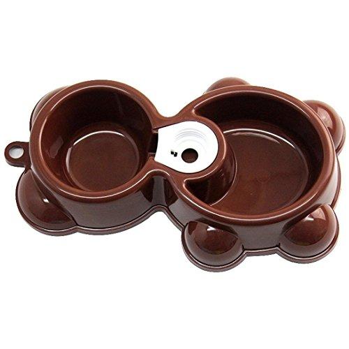 Binmer(TM)Hot Pet Dog Bowl Dish Water Food Feeder Fountain Bear Double Bowl Doggy Puppy Dog Cat Bowl (Coffee)
