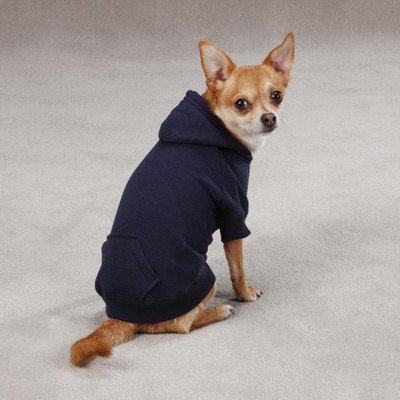Casual Canine Cotton Basic Dog Hoodie, Medium, 16-Inch, Navy