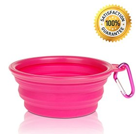 Nom Nom Puppy Collapsible, Eco-friendly, Portable Travel Pet Water Bowl (12 Oz) with Free Bonus Carabiner Belt Clip – Lightweight, Convenient, Travel Cup, Durable, Pop-up, Silicone Dog Bowl – Pet Safe – 100% Satisfaction Guaranteed (Pink)