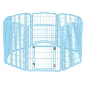 IRIS Plastic Exercise/Containment Pet Pen, 8 Panels, Blue