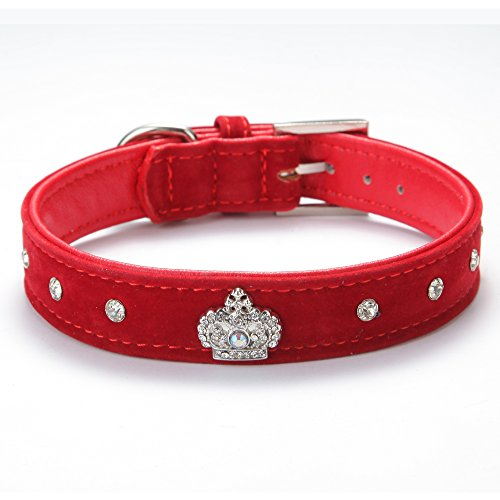 BingPet BA2022X Cute Designer Rhinestone Dog Collars with Diamond Crown for Puppy Pet – Red Small