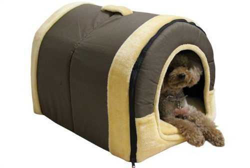 Menu Life Soft Pet Pets Bed Dog Puppy Cat Kitten Bed House Sleeping Warm Mat Cave Igloo (Coffee Canvas, Small)