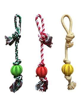 Chew Rope Toy Green for Dogs Puppies – with Strong Play Ball for Tug of War – Best for Small, Medium Breeds & Aggressive Chewers – Extended Warranty
