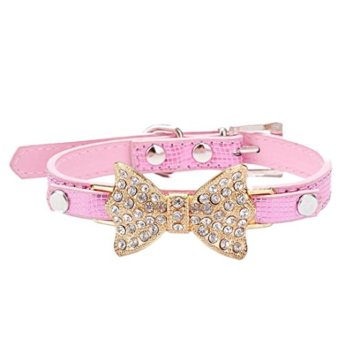 Lillypet(TM) Bling Rhinestone Pet Cat Dog Bow Tie Collar Necklace Jewelry for Small or Medium Dogs Cats Pets Female Puppies Chihuahua Yorkie Girl Costume Outfits, Light and Adjustble Buckle Pink S