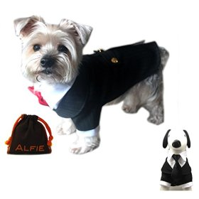 Alfie Pet by Petoga Couture – Oscar Formal Tuxedo with Black Tie and Red Bow Tie – Size: Small