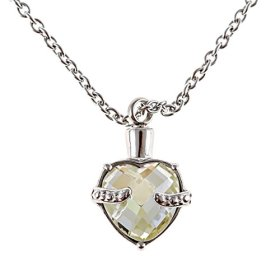 Heart Urn Necklace Pendant for Cremation Ashes 5 Colors (Faint Yellow)