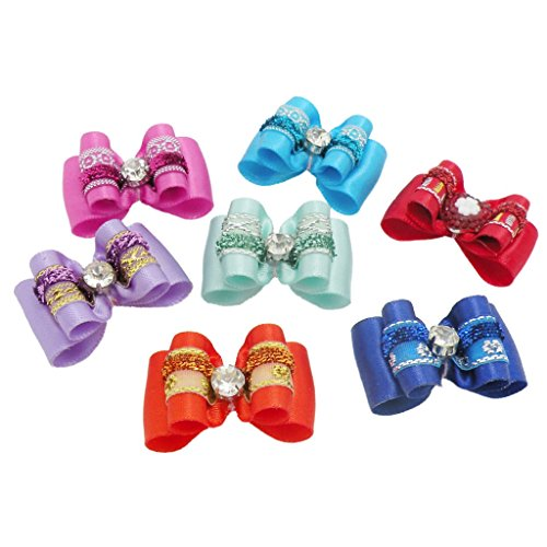 PET SHOW Bling Rhinestone Pet Hair Bows Dog Cat Puppy Grooming Hair Accessories Pack of 10