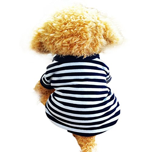 Dog Shirt, HP95(TM) 2015 Fashion Summer Pet Dog Classic Wide Stripes T-shirt, Doggy Clothes Cotton Shirts (White, M)