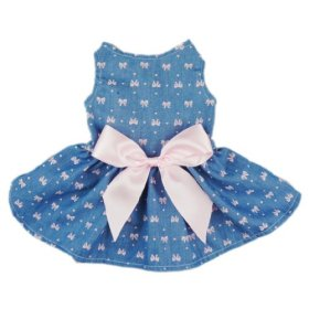 Fitwarm® Sweetie Bows Soft Denim Pet Dog Dress Shirts Clothes Vest Apparel, Small