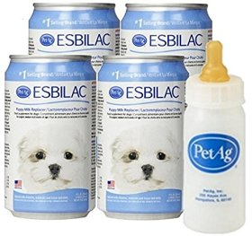Esbilac® Liquid Milk Replacer for Puppies & Dogs, 8oz/11oz Cans, 4-Pack w/Nurser