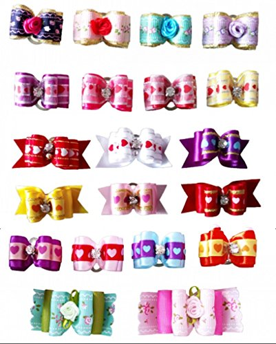 PET SHOW Rose Heart Pet Topknot Hair Bows with Rubber Bands Dog Cat Puppy Grooming Hair Accessories Random Color for Valentine's Day Pack of 20