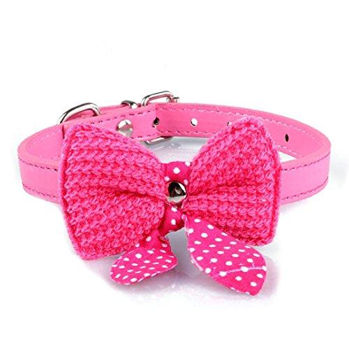 WensLTD Hotsale!Knit Bowknot Adjustable Dog Puppy Pet Collars (Hot Pink)