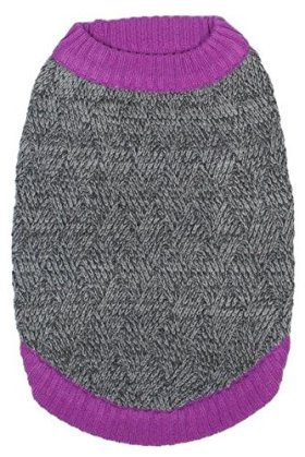 Blueberry Pet Clothes for Dogs 20-Inch Back Length Dog Sweater in Melange Gray and Silver