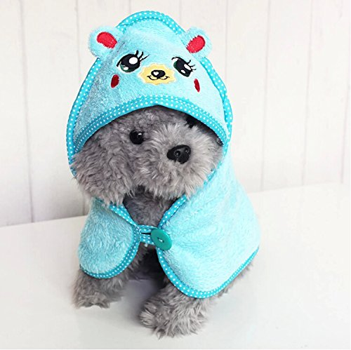 EverTrust(TM) Pet Dog Cute Cartoon Pajamas Dog Bathrobe Multifunction Absorbent Dog Bath Towel Animal Puppy Cat Warm Blanket