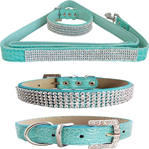WwWSuppliers Teal Green PU Leather Crocodile Bling Dog Puppy Pet Adjustable Collar & Teal Green Bling Leash Lead Elegant Flashy Dazzling Fancy Diva Luxury Fashion Combo (Small)