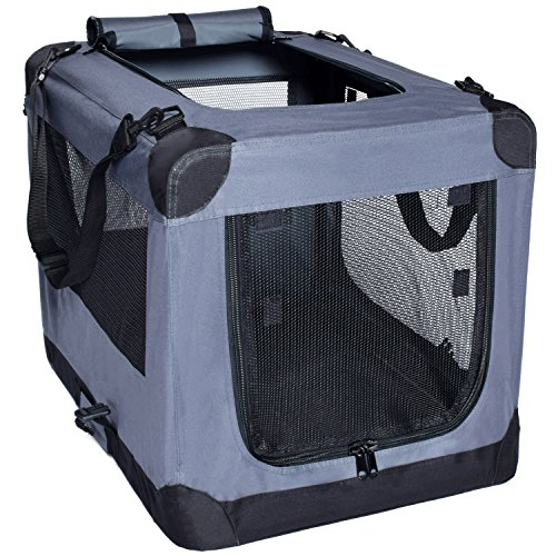 Dog Soft Crate 36 Inch Kennel for Pet Indoor Home & Outdoor Use – Soft Sided 3 Door Folding Travel Carrier with Straps – Arf Pets