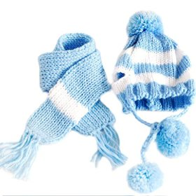 Silvercell Puppy Pet Dog Scarf Pom-pom Cap Collar Clothes Costume Knitted Hat Blue S