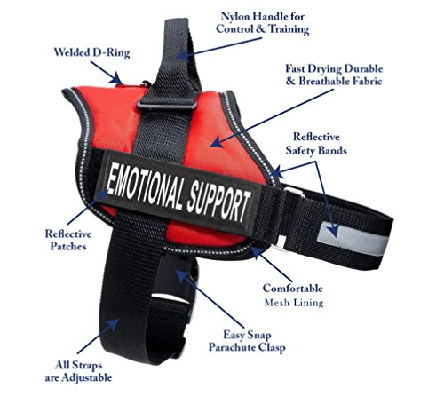 """Service Animal Vest with 2 Reflective """"EMOTIONAL SUPPORT"""" Patches, by Industrial Puppy (XS, Fits Girth 15-22″, Bright Red)"""