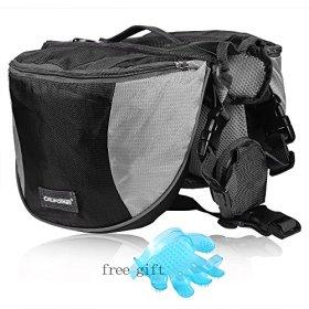 Cade Outdoor Hiking Camping Training Adjustable Dog Saddle-harness Bag Large Capacity Dog Backpack with Reflective Stripe (M, black)