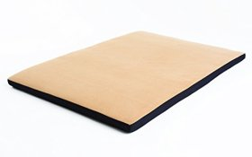 Best Waterproof FLEECE Kennel Crate Pad Washable Cover; (for crates 36 x 24) Hypoallergenic Made in USA (Tan Fleece w Black, Large)