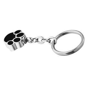HooAMI Pet Cremation Urn Keychain Keepsake Stainless Steel Silver Black Puppy Dog Paw Charm