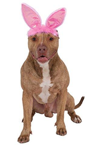 Rubies Costume Company 580337_M-L Crinkle Pink Bunny Ears Pet Headband, Medium/Large