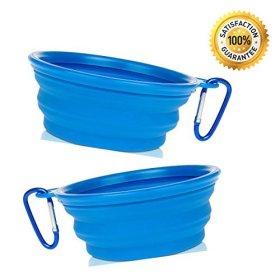 Nom Nom Puppy Collapsible Travel Dog Bowl (12 Oz) with Free Bonus Carabiner Belt Clip – 100% Satisfaction Guaranteed (2-Pack (Blue))