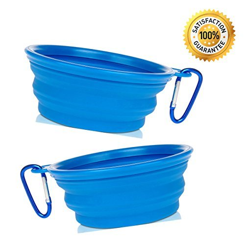 Nom Nom Puppy Collapsible Travel Dog Bowl (12 Oz) with Free Bonus Carabiner Belt Clip – 100% Satisfaction Guaranteed (2-Pack (Blue))