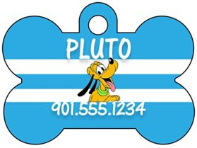 Disney Pluto Dog Tag Pet Id Tag Personalized w/ Your Pet's Name & Number
