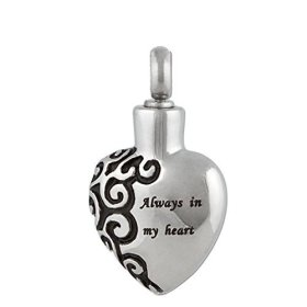 """Zarabe Pet Memorial Urn Pendant Necklace """"Always in My Heart"""" & Chain- Cremation Jewellery …"""
