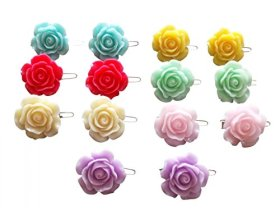 PET SHOW Rose Flower Small Pet Cat Puppy Dog Hair Bows With Frog Clips Grooming Hair Accessories Color Assorted Pack of 20