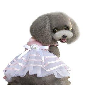 HP95(TM) 2015 Hot Pet Dog Puppy Tutu Princess Dress Stripe Bow Lace Skirt Clothes Pet Apparel (M)