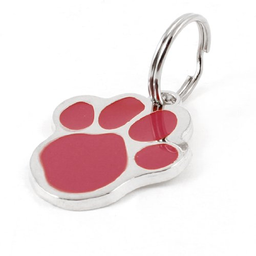 Water & Wood Red Silver Tone Foot Keyring Pendant Puppy Dog Collar ID Name Tag