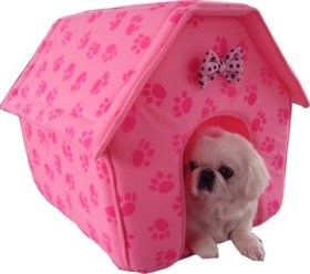 New Pink Paw Prints Collapsible Pet Dog Puppy Cat Kitten Bed Shelter House -Medium