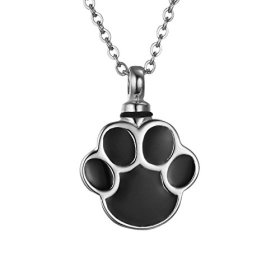 VALYRIA Silver Puppy Dog Paw Print Urn Pendant Necklace Stainless Steel Cremation Jewelry