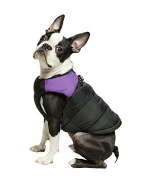 Gooby Padded Cold Weather Vest for Small Dogs with Safe Fur Guard Zipper Closure, Purple, Medium