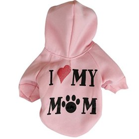 """Ollypet Winter/ Fall Collection Pink Hoodie """"I Love My Mom"""" Sweater for Small Dogs S"""