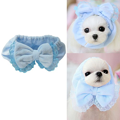 Bro'Bear Elastic Pet Head Wear with Bowknot Design for Small Dogs & Cats Party Costume – Also Used As Neck Warmer (Blue, Small)