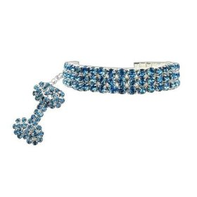 PETFAVORITES™ Couture Designer Fancy 3 Rows Rhinestones Pet Cat Dog Necklace Collar Jewelry with Bling Crystal Bone Charm Pendant for Pets Cats Small Dogs Female Puppy Chihuahua Yorkie Girl Costume Outfits, Adjustable and Handmade (Blue, Neck Size: 8″-10″)