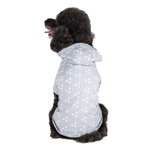 Blueberry Pet 10-Inch Polyester/Cotton Polka Dot Dog Hoodie, Small, Grey and White
