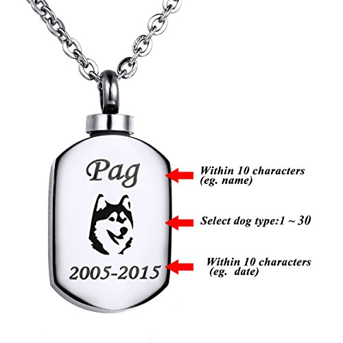 VALYRIA Polished Stamp Blank Pendant Urn Keepsake Cremation Ashes Necklace with Personalized Engraving