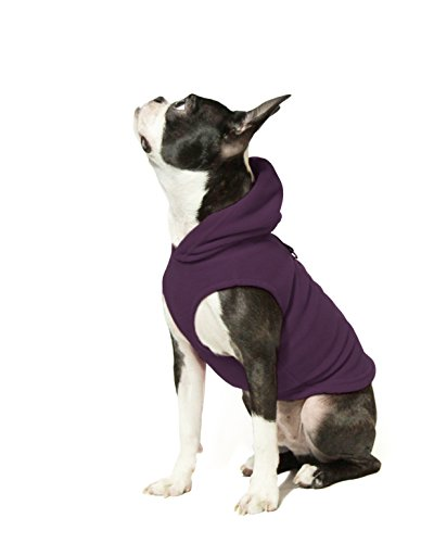 Gooby Every Day Fleece Cold Weather Dog Vest with Hoodie for Small Dogs, Plum, Small