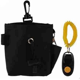 Pet Dog Treat Pouch Bag WITH Clicker For Reward Training Treat Storage and Delivery (BLACK) Bait Bag INCLUDES Clicker For Puppy Adult Dog Marker Reward Based Positive Reinforcement Training supplies