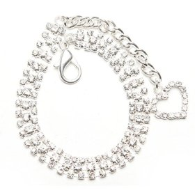 BingPet BB4008 Designer Crystal Diamond Pet Jewelry Rhinestone Dog Cat Necklace with Crystal Heart – Clear Medium