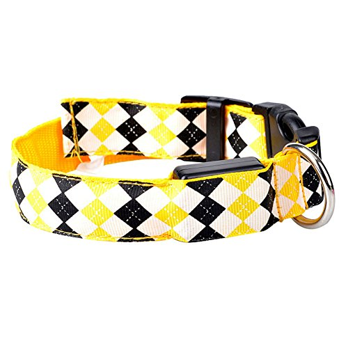DINGANG Diamond Pattern Led Lights Dog Puppy Doggie Pets Nylon Night Safety Collars
