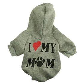 """Ollypet Winter/ Fall Collection Grey Hoodie """"I Love My Mom"""" Sweater for Small Dogs XS"""
