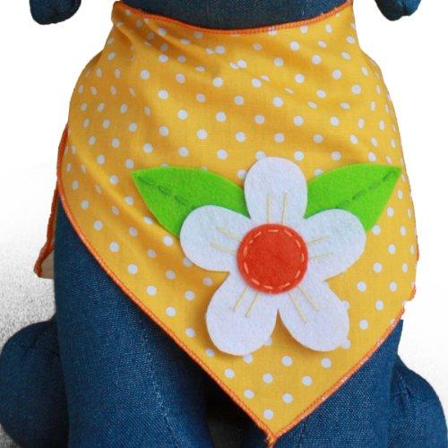 Dog Bandana with Flower Applique (Medium)
