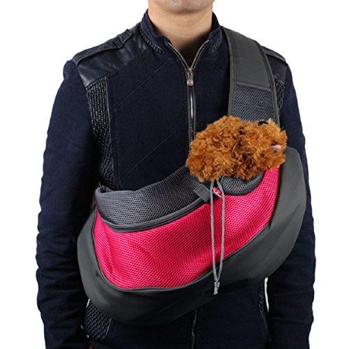 Mokingtop Pet Dog Cat Puppy Carrier Mesh Travel Tote Shoulder Bag Sling Backpack (S, Hot Pink)