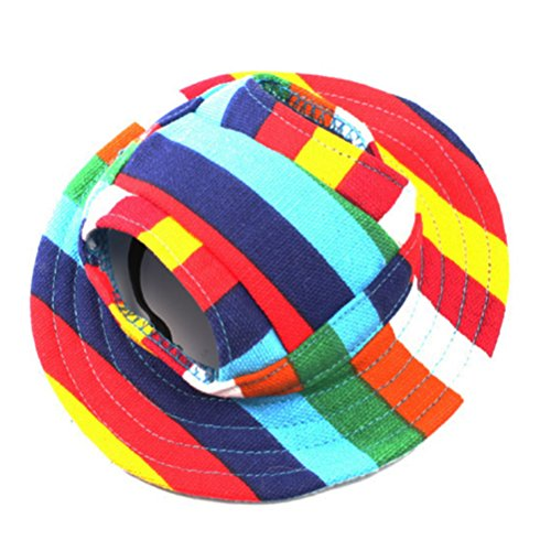 WINOMO Round Brim Pet Cap Visor Hat Pet Dog Mesh Porous Sun Cap with Ear Holes for Small Dogs – Size S (Colorful Stripe)